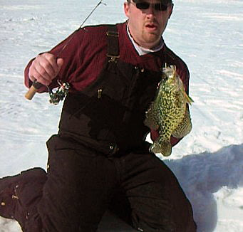 HSO Admin Shack (Shackbash) with a Mille Lacs Lake Crappie Caught Ice Fishing