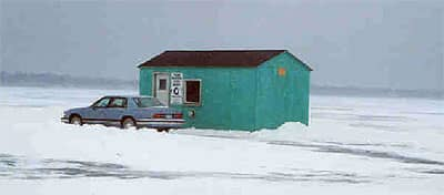 Garrison Sports Bait and Tackle Ice Fishing House Rental Outside