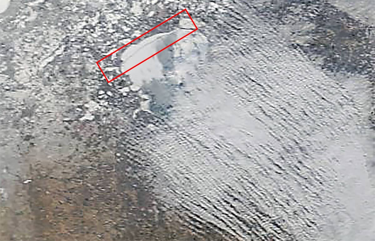 Mille Lacs Lake Satellite Image Showing Large Crack on North End from Malmo to Garrison