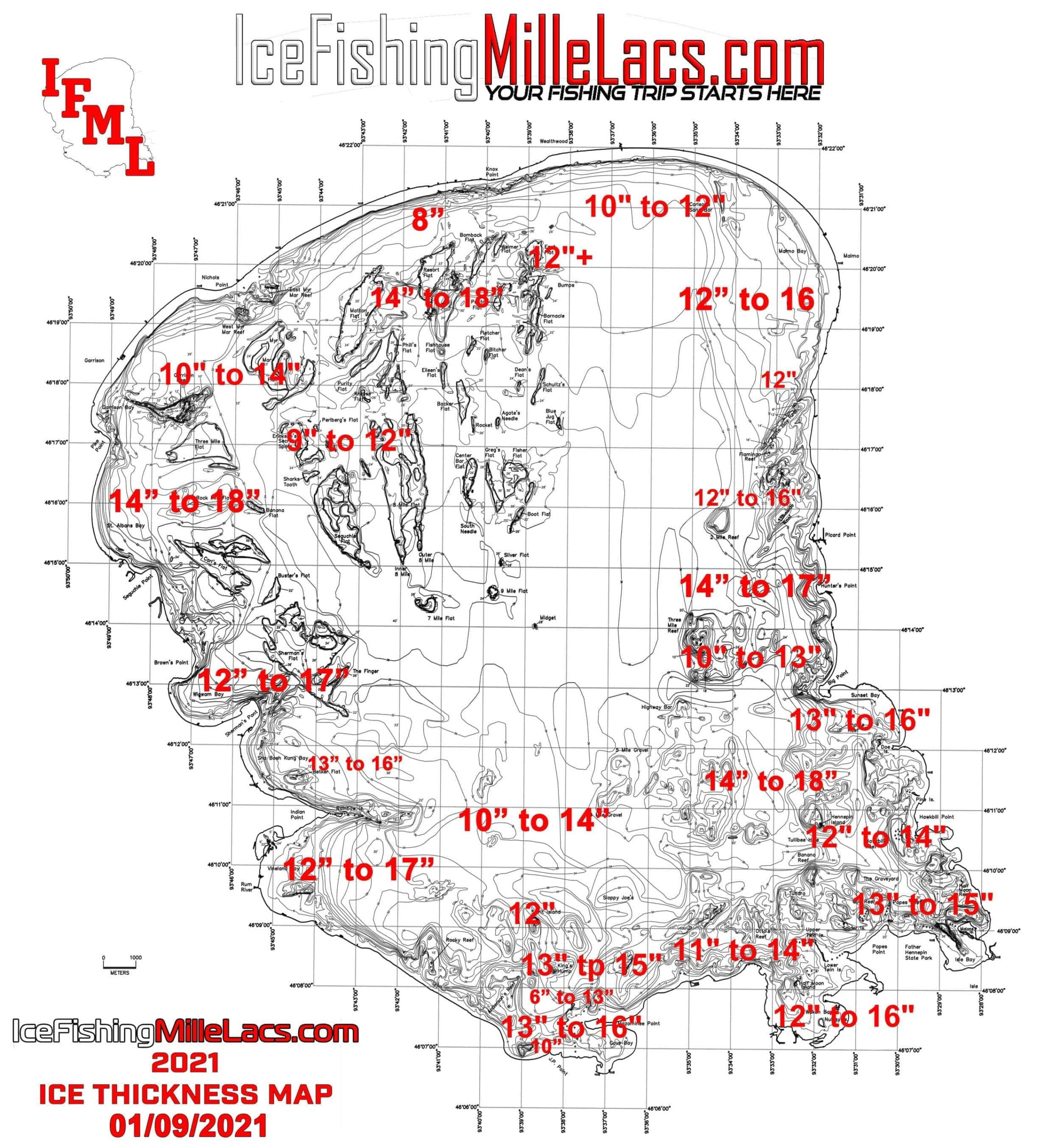 Mille Lacs Lake Ice Thickness Map Jan 01 09 2021