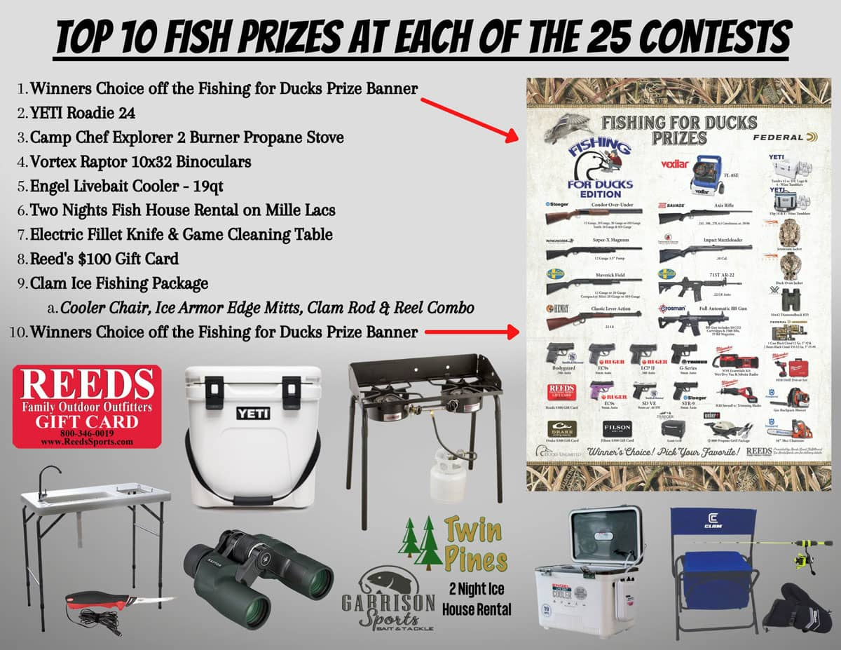 Fishing For Ducks Mille Lacs Ice Fishing Tournament Prize List